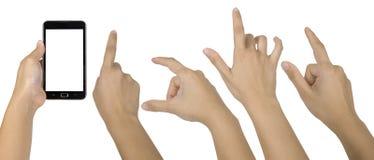 Positionnement de main de Smartphone Photos libres de droits