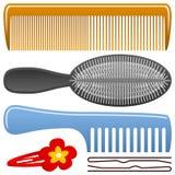 Positionnement de peigne et de Hairbrush Image libre de droits