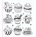 Positionnement de petit gâteau de griffonnage Image libre de droits