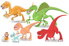 Positionnement de ramassage de dinosaurs carnivores Illustration Libre de Droits