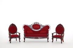 Positionnement de salle de séjour de meubles de maison de poupée Photographie stock libre de droits