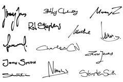 Positionnement de signature Photographie stock libre de droits