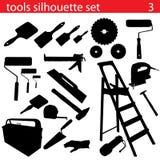 Positionnement de silhouette d'outils de vecteur Photos stock