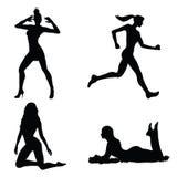 Positionnement de silhouette de femme Photo stock