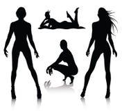 Positionnement de silhouette de femme Photo libre de droits