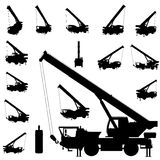 positionnement de silhouette de grue mobile Photo stock