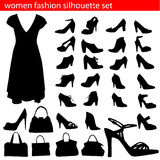 Positionnement de silhouette de mode de femmes illustration stock