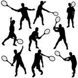 Positionnement de silhouette de tennis Image stock