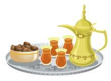 Positionnement de thé Arabe avec les dattes 1 illustration stock
