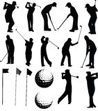 Positionnement de vecteur de golfeur photographie stock libre de droits