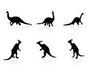 Positionnement de vecteur de silhouette de dinosaur Photo libre de droits
