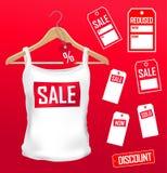 Positionnement de vente d'étiquettes de vêtements illustration de vecteur