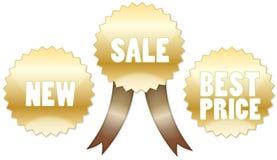 Positionnement de vente, neuf et meilleur des prix d'or d'insigne Image stock