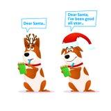 Positionnement drôle de crabot de dessin animé Caractère plat Terrier de Noël illustration de vecteur