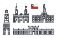 Positionnement du Chili Architecture d'isolement du Chili sur le fond blanc Photographie stock libre de droits