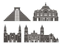 Positionnement du Mexique Architecture d'isolement du Mexique sur le fond blanc Image libre de droits