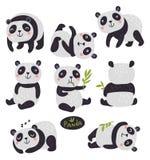 Positionnement du travail du vecteur characters blanc de type de panda d'illustration de dessin animé d'ours de fond Ensemble mig illustration libre de droits