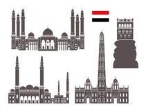 Positionnement du Yémen Architecture d'isolement du Yémen sur le fond blanc Photographie stock