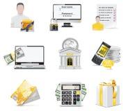 Positionnement en ligne de graphisme d'opérations bancaires de vecteur. Partie Image libre de droits