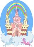 Positionnement féerique de château de dessin animé illustration stock