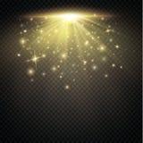 positionnement L'étoile brillante, les particules du soleil et les étincelles avec un effet de point culminant, les lumières d'or Images stock