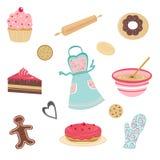 Positionnement mignon de boulangerie et de cuisine Photo stock