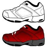Positionnement rouge de chaussure de tennis Image stock
