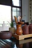 Positionnements de thé et cérémonie de thé photographie stock