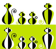 Positionnements stylisés de la famille de chat deux Image stock