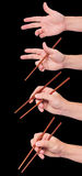Positions of chopstick sushi black Royalty Free Stock Photography