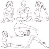 Positions de yoga de forme physique Photo libre de droits
