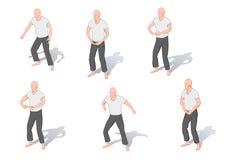Positions of gymnastics a chi kung vector illustration