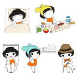 Positions When Using Smartphone At Home Character illustration  Stock Images