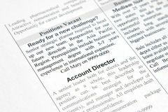 Positions vacant. A fake positions vacant advertisement for strategic planner and account director Stock Photos