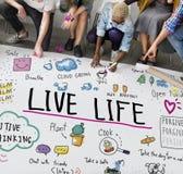 Positiv, das einfaches Leben-Grafik-Konzept denkt lizenzfreies stockbild