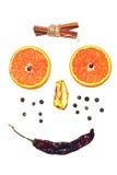 Positiv framsidasmiley från isolerade kryddor Royaltyfri Bild