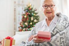 Positiv gealterte Frau hält eingewickelten Kasten stockbild