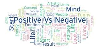 Positiv gegen die negative Wortwolke, gemacht mit nur Text lizenzfreie abbildung