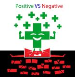 Positiv GEGEN negatives Konzept stock abbildung
