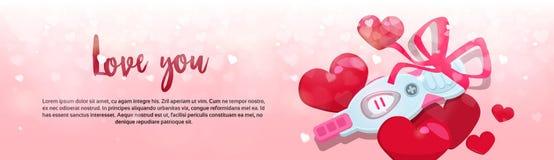 Positiv graviditetstest med utrymme för kopia för baner för rött för valentindag för band lyckligt för ferie begrepp för beröm ho stock illustrationer