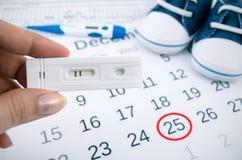 Positiv graviditetstest på kalender Arkivbilder