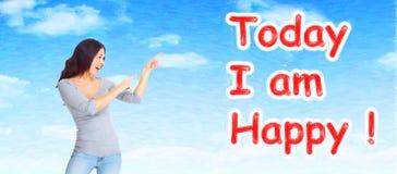 Positiv lycklig kvinna på abstrakt bakgrund Fotografering för Bildbyråer