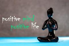 Positiv mening - positivt liv statyett av en meditera ung flicka För tankemening för livsstil positivt begrepp för liv royaltyfri bild