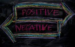 Positiv oder Negativ geschrieben mit Farbkreidekonzept auf die Tafel stockbilder