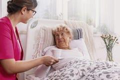 Positiv patient som ligger i sjukhussäng med den hjälpsamma sjuksköterskan i rosa likformig på hennes plats royaltyfri bild