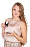 Positiv recht blond mit Tasse Kaffee Lizenzfreie Stockfotografie