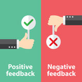 Positiv und negatives Feedback Stockfotografie