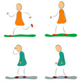 Positiva fyra och fördjupningskvinnligsymboler Royaltyfri Illustrationer