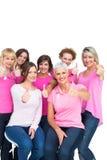 Positiva nätta kvinnor som poserar och bär rosa färger för bröstcancer Royaltyfri Foto