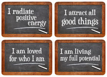 Positive affirmation - blackboard set Stock Image